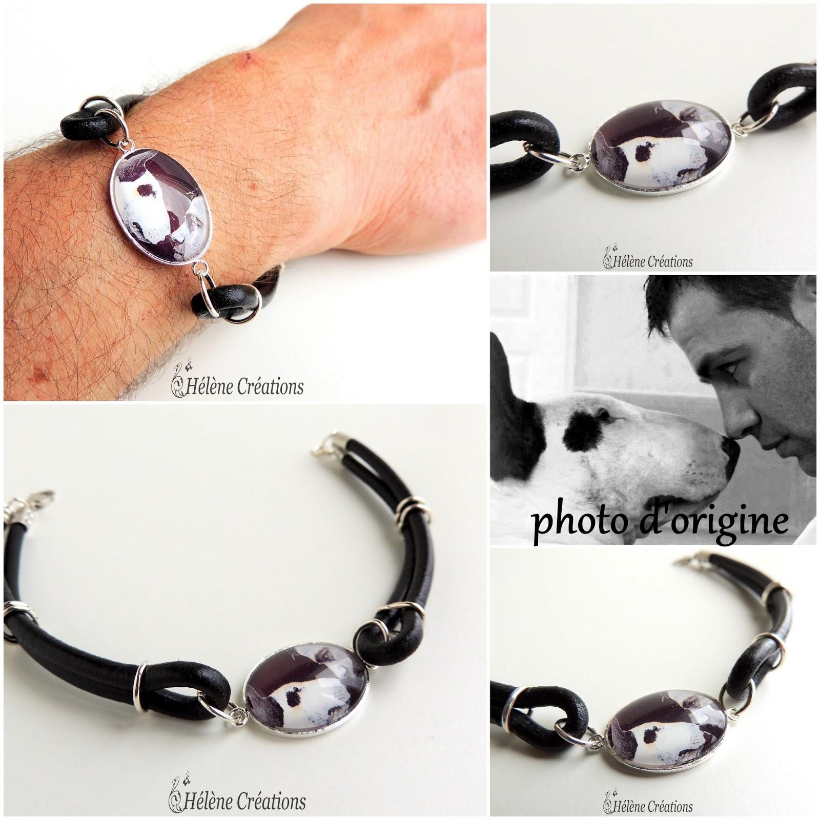 hc l 39 artisane bracelet pour homme bull terrier personnalis partir d 39 une photo. Black Bedroom Furniture Sets. Home Design Ideas