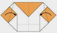 Bước 6: Gấp chéo hai cạnh tờ giấy vào trong.