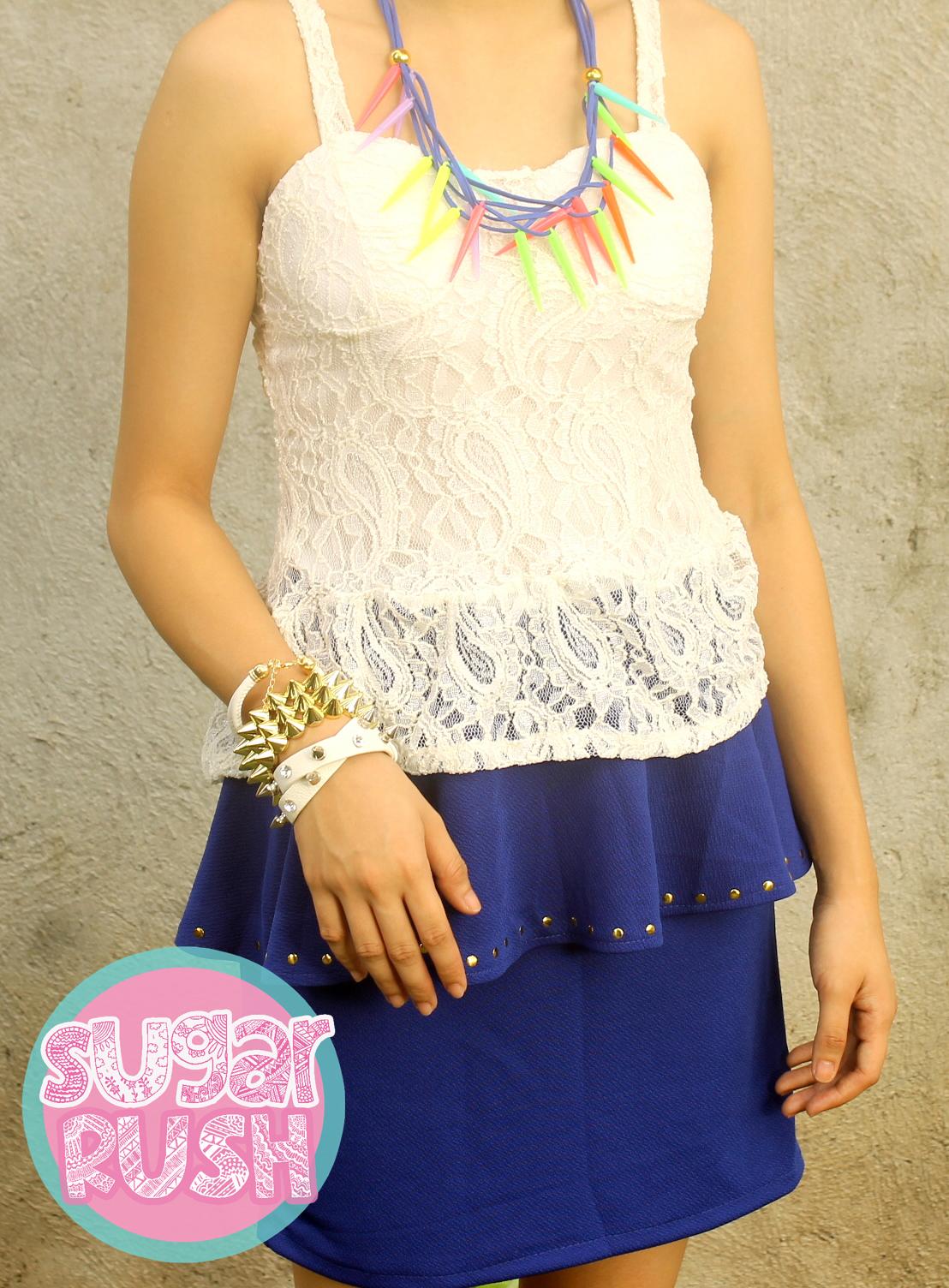 Blue peplum skirt white corset