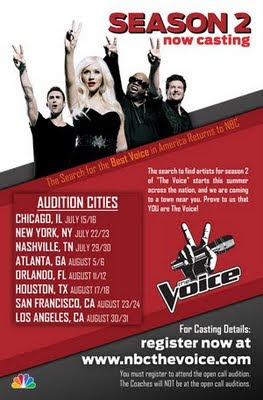 Updated 'The Voice' Season 2 open casting calls and video ...