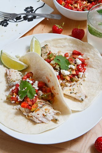 Mojito Grilled Fish Tacos with Strawberry Salsa