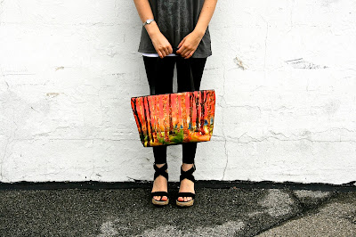 cute handbags for fall with orange fabric and leather trim