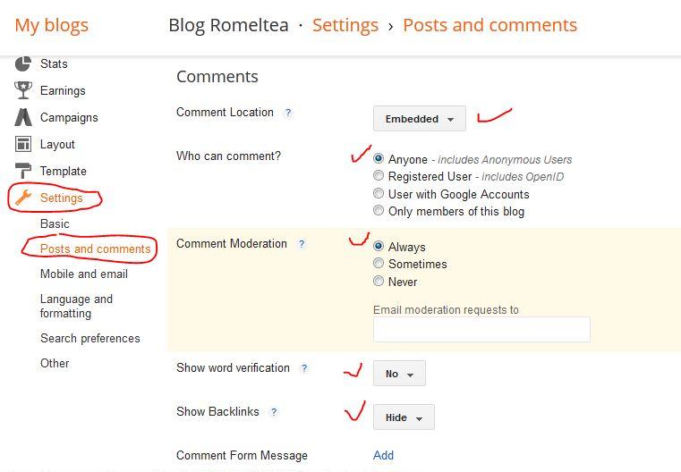 setingan kolom komentar blog