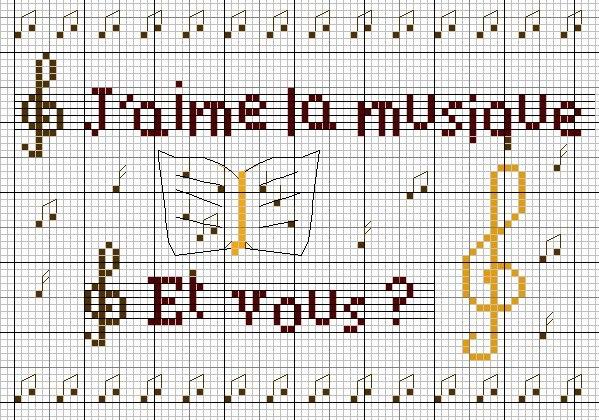 Музыкальная в вышивке схемы 951