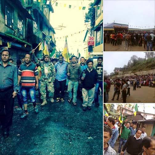 Gorkha Janmukti Yuva Morcha (GJYM)  massive rally, meeting for Gorkhaland at Monteviot ground in Kurseong