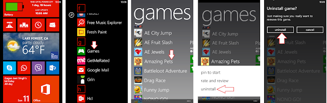 Uninstalling a Game from Windows Phone