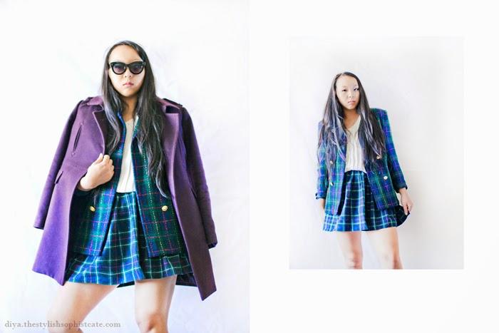 fashion blog, american apparel plaid skirt, purple pea wool coat, gossip girl, print mixing, outfit, ootd, editorial, styling, wardrobe stylist, texas fashion blog, style, personal style