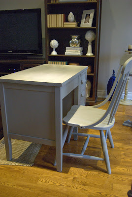 Desk And Chair Painted with Chalk Finish Paint