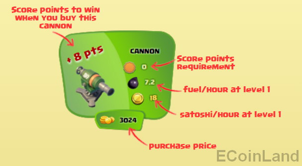 Cannon features of the free Bitcoin faucet game CannonSatoshi