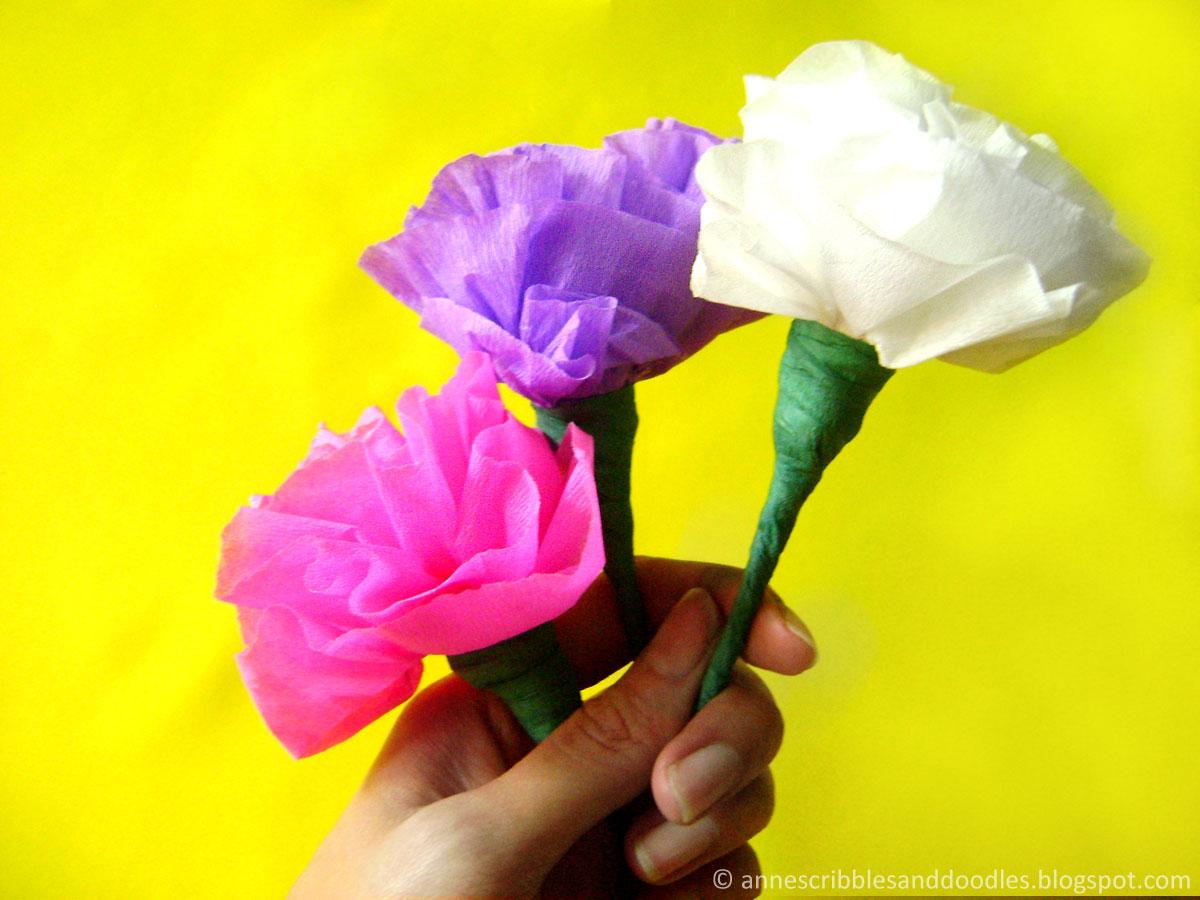 Carnation Paper Flower Diy Annes Scribbles And Doodles
