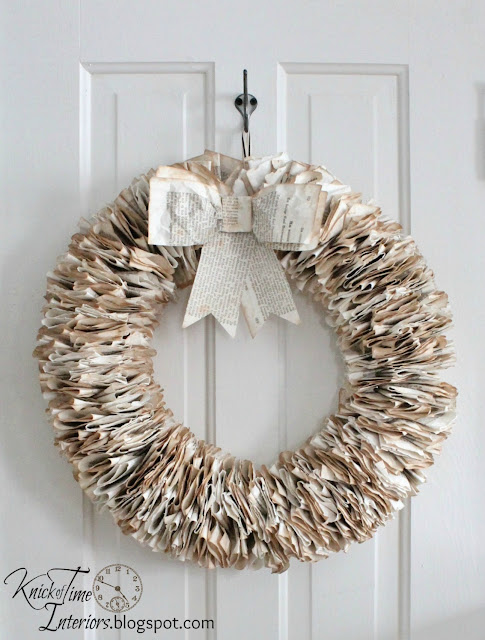 Book Page Wreath Repurposed DIY by Knick of Time