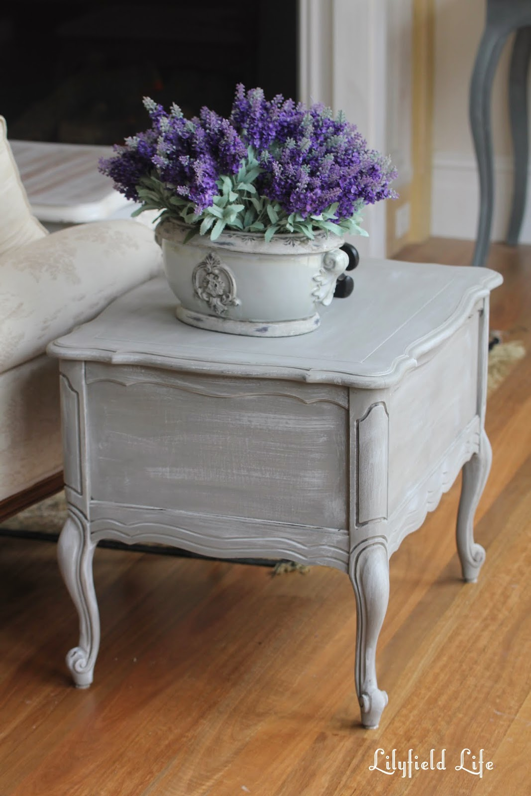 Restoration hardware weathered finish on a french style lamp table by Lilyfield life