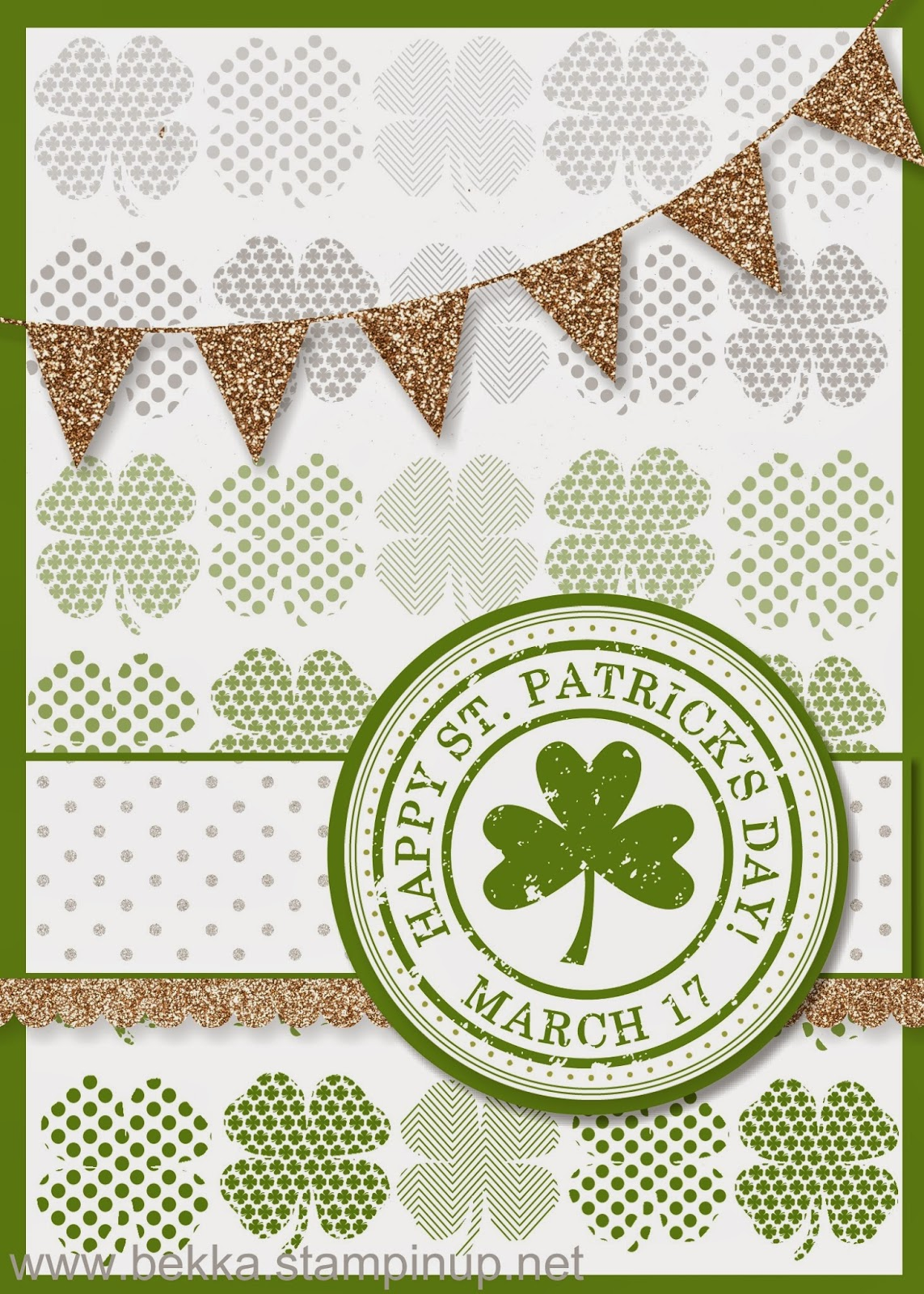 Digital St Patrick's Day Card by UK based Stampin' Up! Demonstrator Bekka Prideaux - check her blog every Monday for great digital crafting ideas