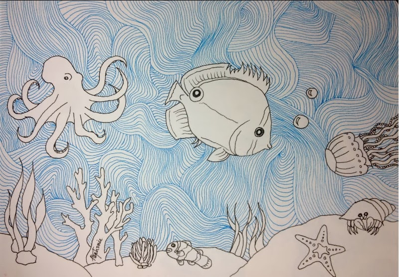 sea drawing of a fish, an octopus, a jellyfish, and some sea coral with a zentangle background by Stephanie Jennifer.