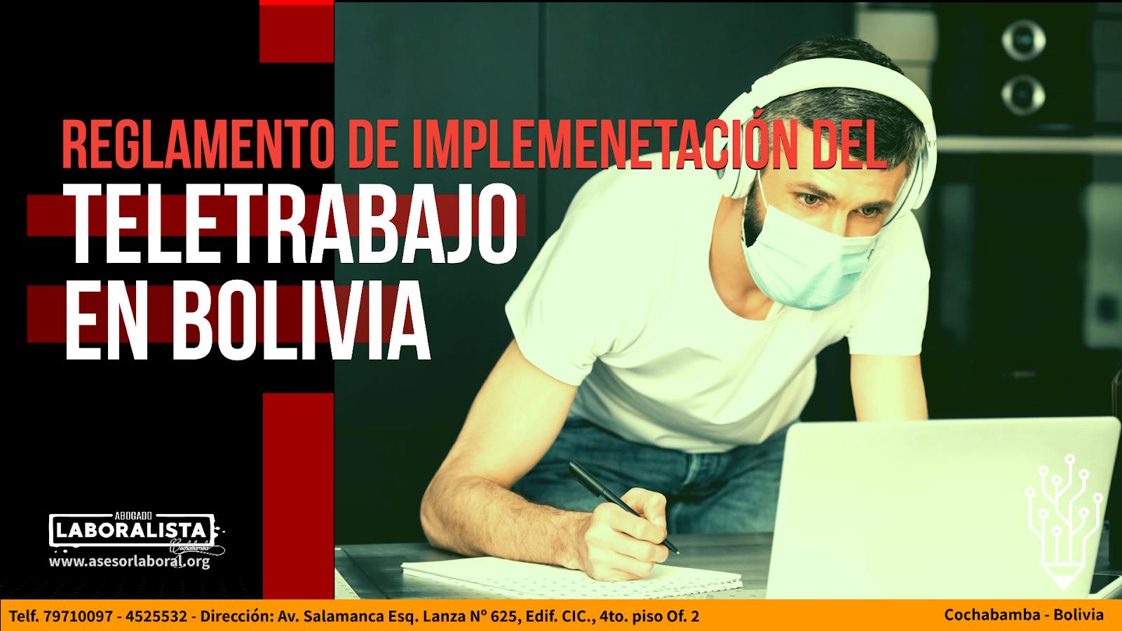 REGLAMENTO DE IMPLEMENTACIÓN DEL TELETRABAJO EN BOLIVIA