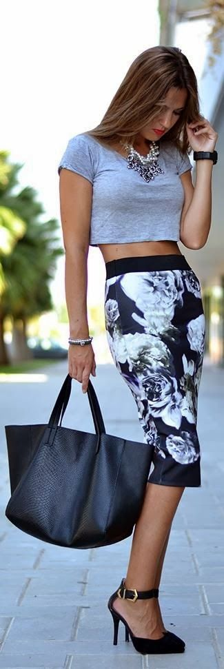 Street style printed skirt and crop top.