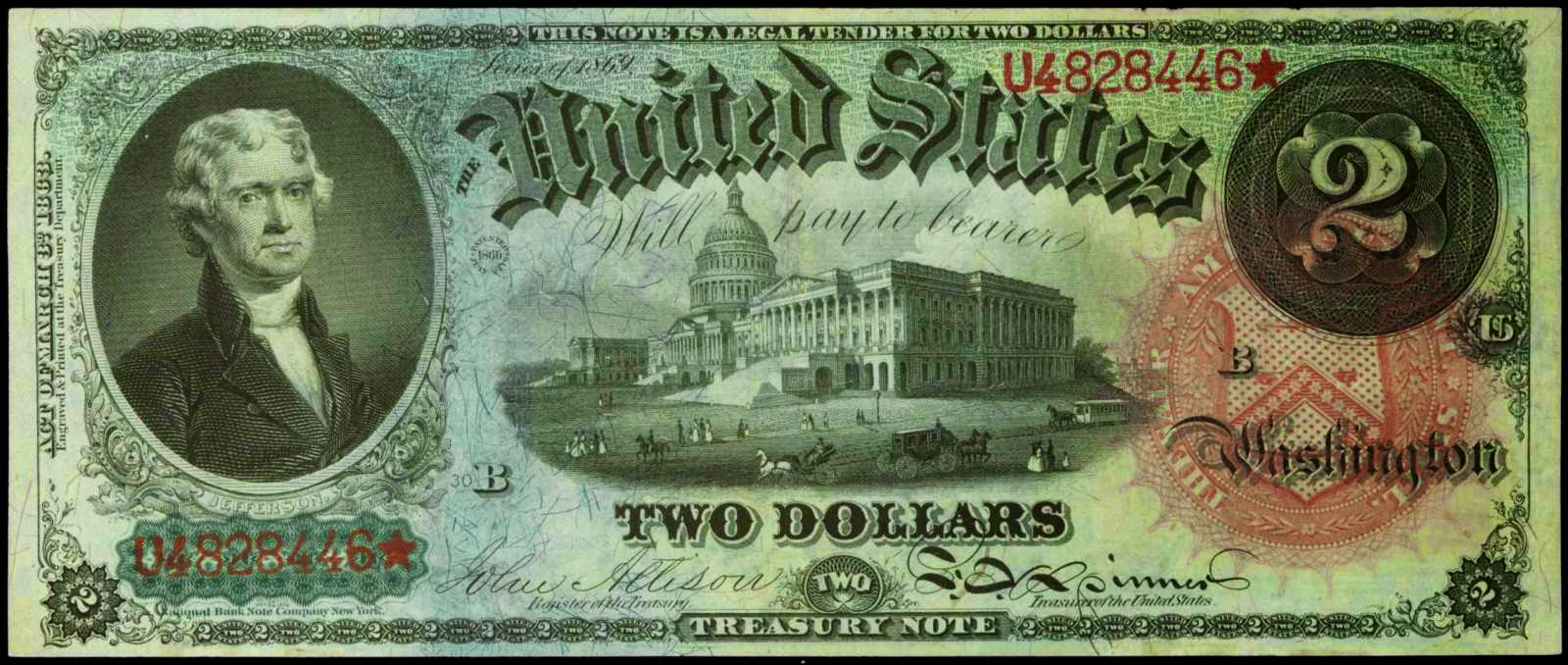 United States Notes 1869 Two Dollar Legal Tender Note Thomas Jefferson