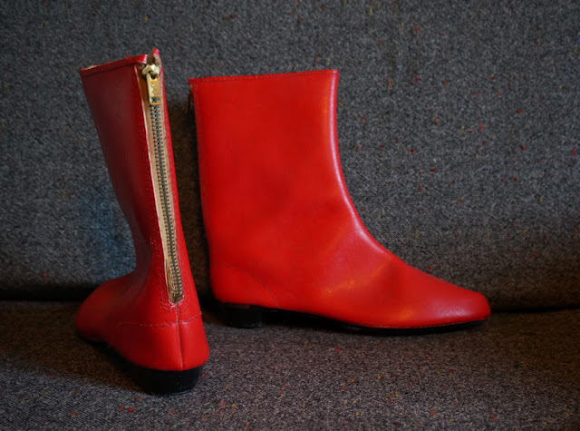 vintage red 60s 1960 gogo boots bootes années 60 mod twiggy gogo