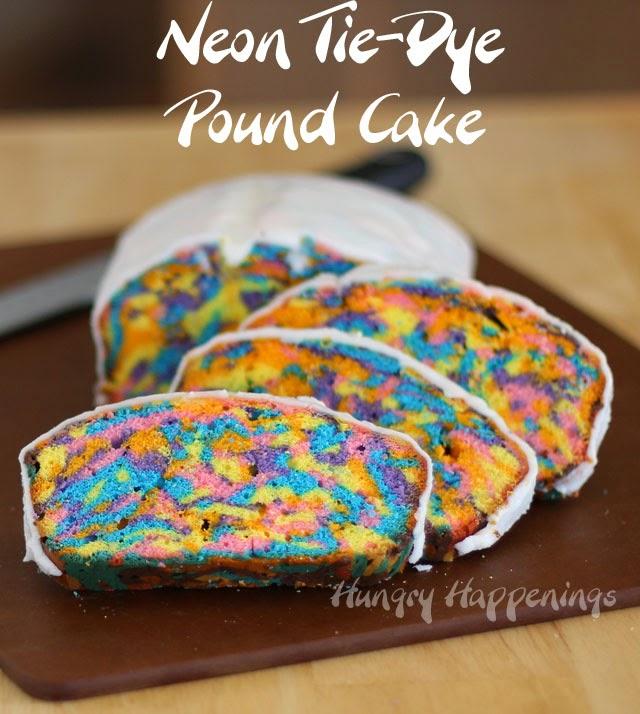 Neon Tie-Dye Pound Cake | HungryHappenings.com