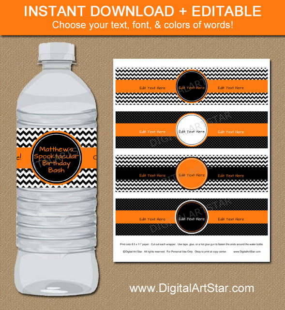 editable halloween birthday water bottle labels