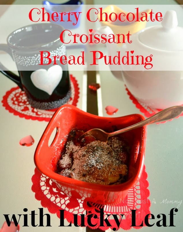 #LoveableLuckyLeaf Cherry Chocolate Croissant Bread Pudding