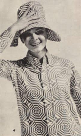 Op' Art 1966 shirt blouse hat 60s 1960 mod red white Optical Prisunic