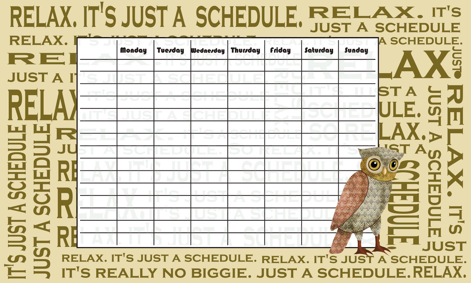 Weekly Timetable Printable Calendar Template 2016