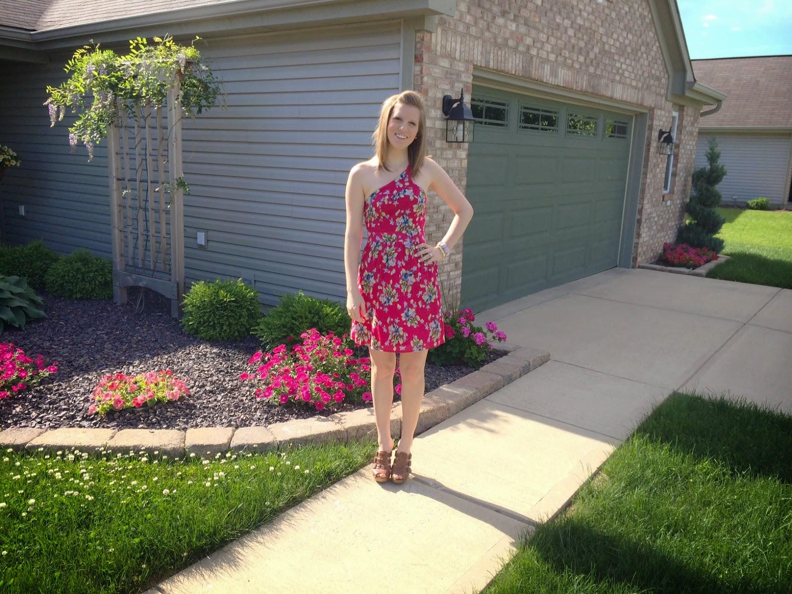 Pink Floral One Shoulder Dress OOTD