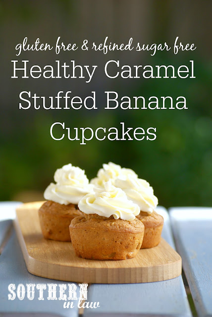 Low Calorie Caramel Stuffed Banana Cupcakes Recipe | low fat, gluten free, healthy, sugar free, high protein, clean eating friendly, low carb