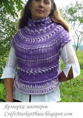 вязание на вилке, ручное вязание,  модная вязаная одежда,  вязаная юбка, жилет вязаный, комплект,  костюм