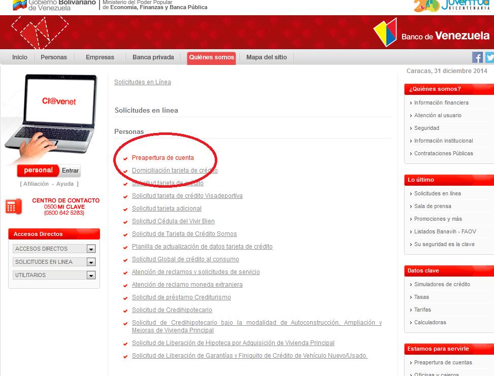 Solicitar cita en el banco de venezuela para apertura de for Hotmailbanco de venezuela