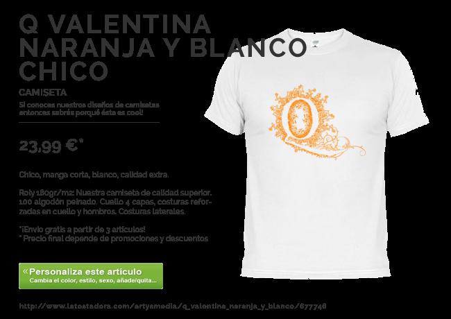 Camiseta Q Valentina Naranja y Blanco