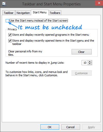 Enable Start Screen in Windows 10