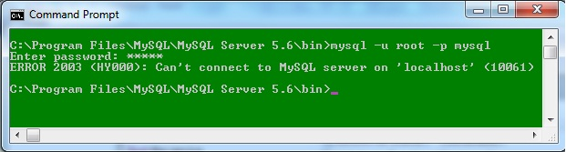 Image of command prompt while starting MySQL Server