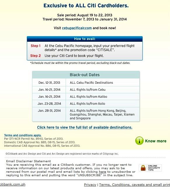 Citibank flight discount coupons