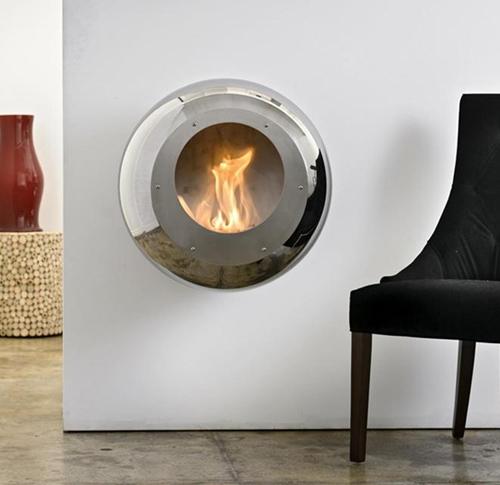 Best fireplace design ideas stylish round wall mounted fireplace - Contemporary wall mount fireplace ...