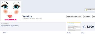 Fanpage Yumida mencecah 1000 likes, page facebook yumida, blogger yumida