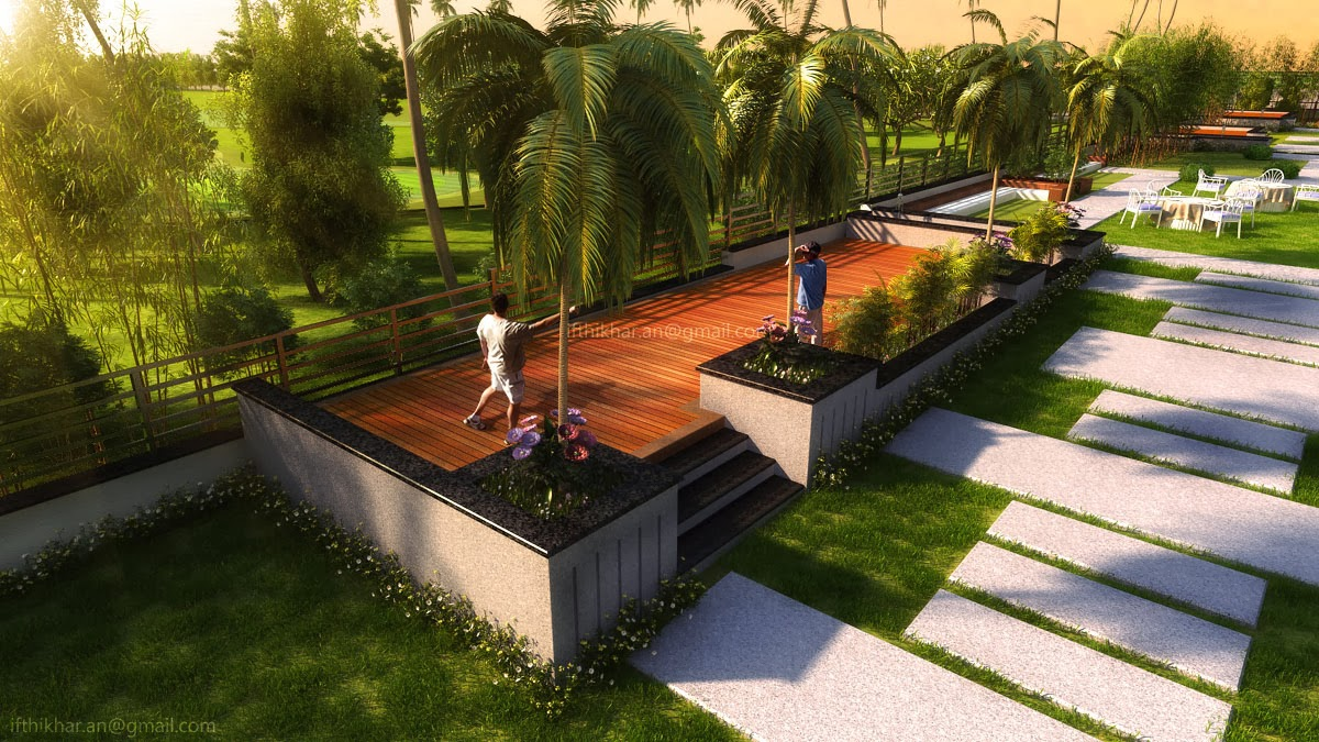 Modern contemporary landscape designs in 3dsmax vray for Modern landscape design