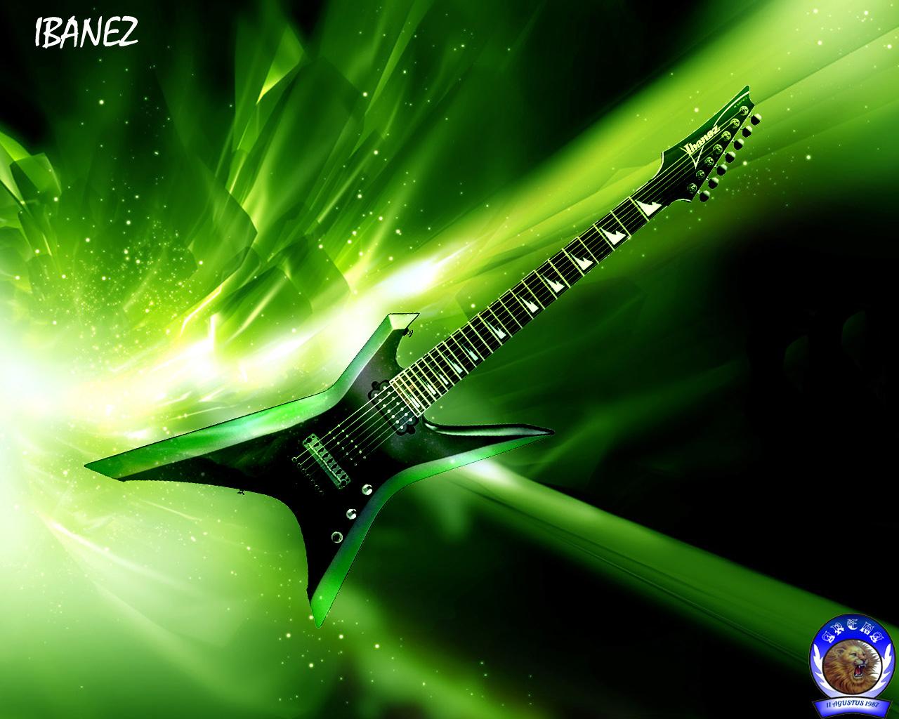 Green Guitar Wallpaper
