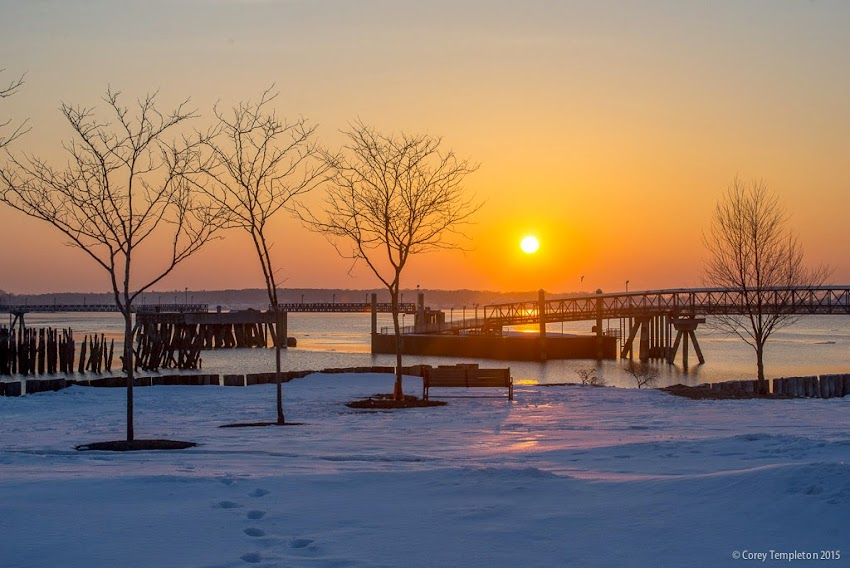 Portland, Maine Winter March 2015 Sunrise from Casco Bay Moon Tide Garden photo by Corey Templeton