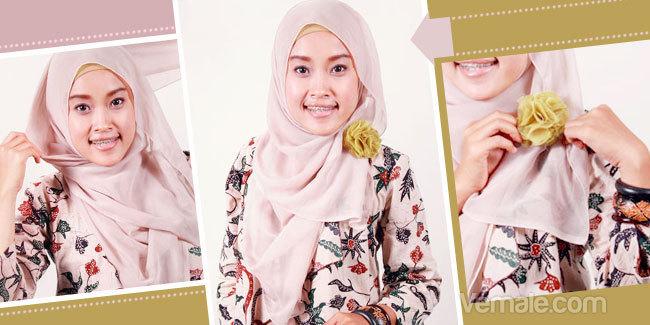 Cara Memakai Jilbab Segi Empat Dengan Aksesoris Bunga