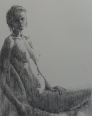 Charcoal drawing of a seated Nude by South African artist, Stephen Scott