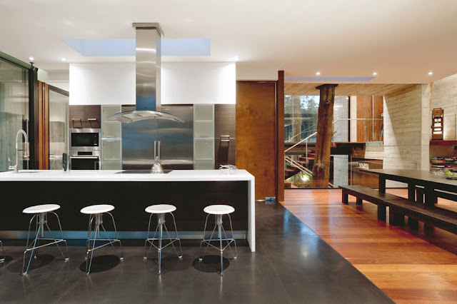 Picture of modern kitchen with black and white furniture