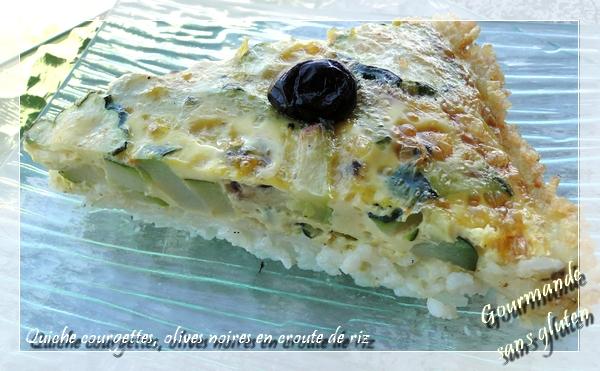 Quiche aux courgettes et olives noires en croûte de riz