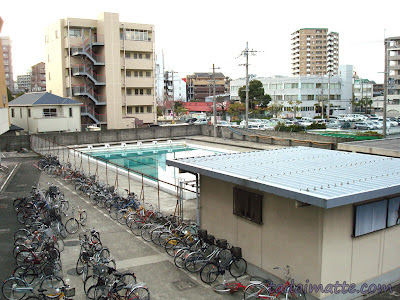 Students' bicycle parking lot in Japan