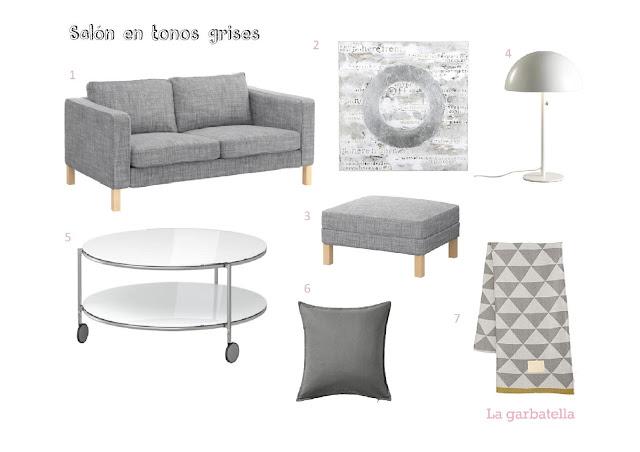 salón nórdico en tonos grises