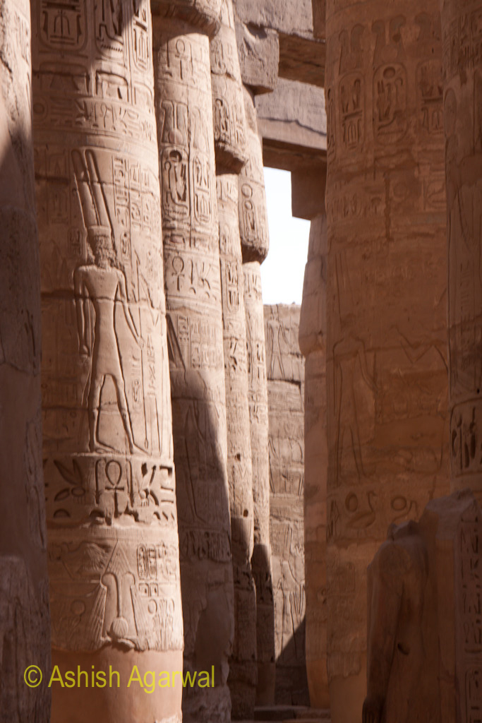 Narrow gap between 2 rows of pillars inside the Hypostyle Hall in Karnak temple