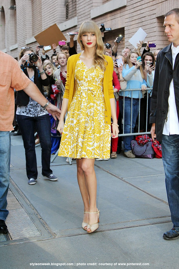 Celebrity Street Style - Taylor Swift Dresses Canary Yellow Floral Dress