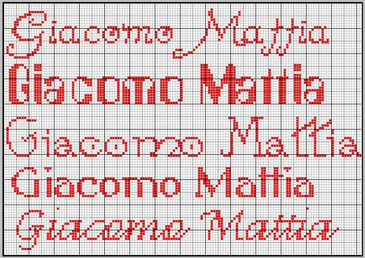 Punto croce corsivo beautiful punto croce corsivo with for Nomi in corsivo gallery