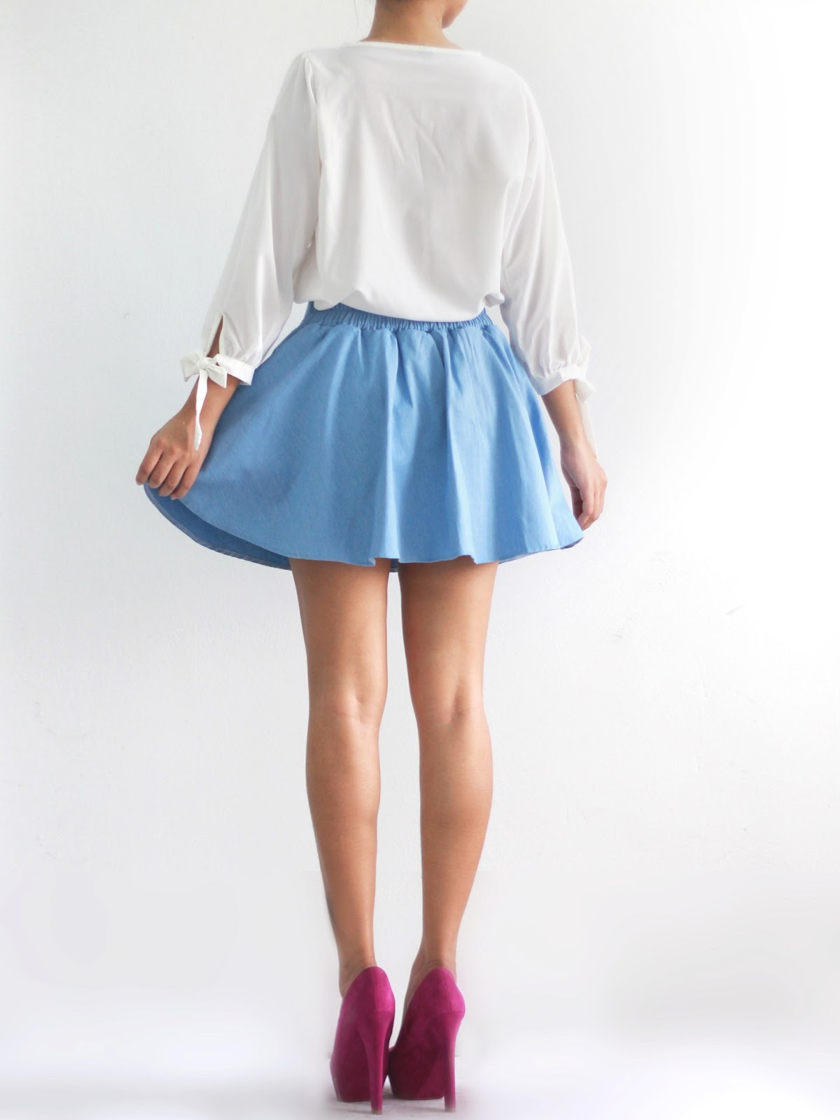 mango orangie denim skater skirt with inner shorts
